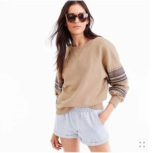 J.Crew  Embroidered sweatshirt-J1509-KHAKI-cotton